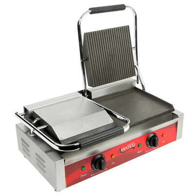 Avantco P88SG Double Grooved Top Smooth Bottom Commercial Panini Sandwich Grill