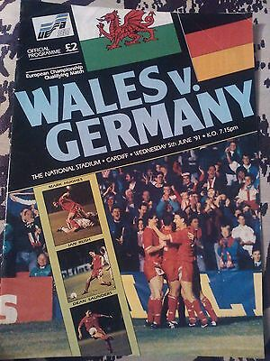 Wales V Germany Programme. European Championship Qualifier 5/6/91