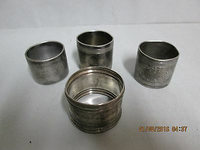 4 Antique Silver or Plated Engraved Napkin Rings