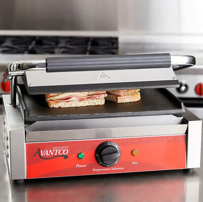 NEW! Avantco P70S Smooth Commercial Restaurant Panini Sandwich Grill 120V 1750W