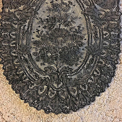 "Antique Black Chantilly Lace And Floral Lace Trim 80"" X 32"" & 110"" X 9.5"""