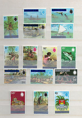 TUVALU 1976 15 MNH COMPLETE SET TO $2 GILBERT and ELLIS STAMPS OPT TUVALU