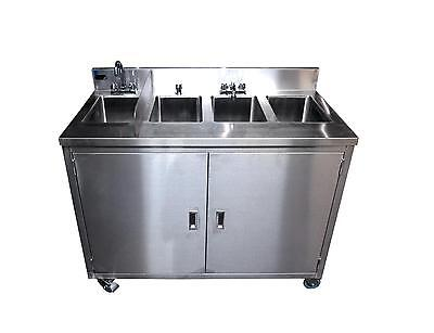 Porta Sink SS4 All Stainless Steel 4 Compartment Portable Sink NSF