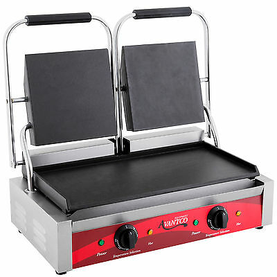 "Avantco P85S Double 8"" x 8"" Smooth Top & Bottom Commercial Panini Sandwich Grill"