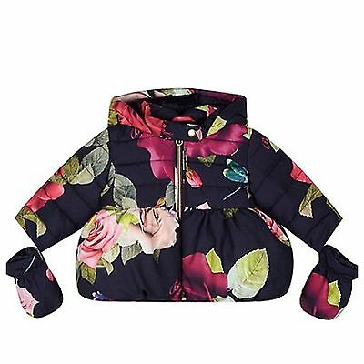Ted Baker Baby Girls Navy Padded Hooded Coat With Mittens. 6-9 Months . BNWT
