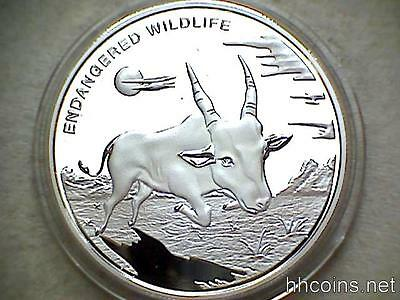 Congo 2007 10 Franc, Endangered Wildlife, Antelope Silver Plated Proof Capsule