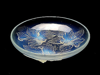 "Signed Sabino Art Glass Opalescent Crystal Small Berry Tray/Dish 5 3/4"" Diameter"
