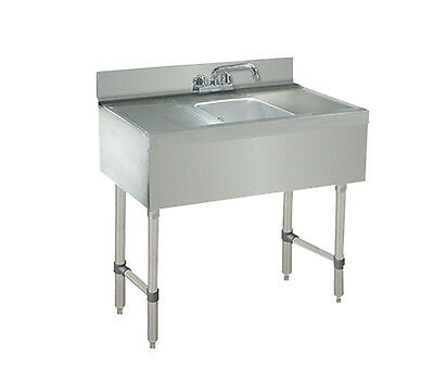 """Advance Tabco 1-Comp S/S Underbar Hand Sink w/ Faucet, Two 12"""" Drainboards"""