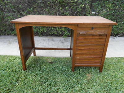 Vintage / Antique Child's Oak Desk W/ Roll Top Style Side Door At Drawer