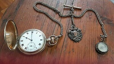 Vintage Gold Plated Pocket Watch, Fob, Chain & Compass