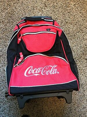 Coca Cola Coke Roller Backpack Red & black with Laptop Compartment. BRAND NEW