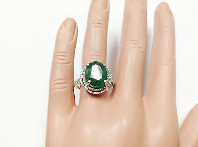 5.57Ct Genuine Natural Emerald And Diamond Ring In Solid 14K Yellow Gold, Oval