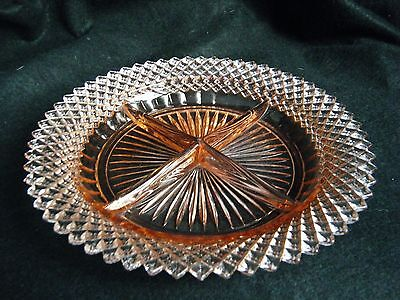 Old Pink Depression Glass MISS AMERICA Hocking Company 4 Part Relish Dish .