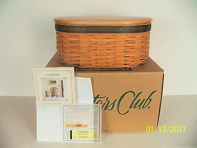 NIB Longaberger Collectors Club HARMONY Basket with Lid and 2 Protectors, Papers