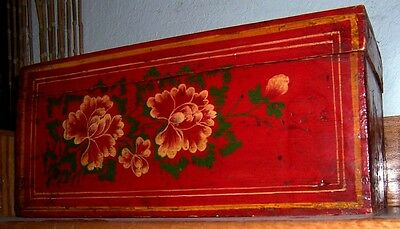 Antique Chinese Red  Lacquer Wooden Box Hand-Painted Floral