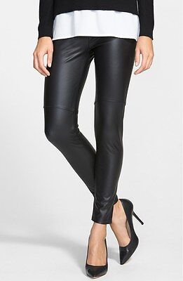 $110 Lysse Control High Waist Stretch Faux Leather Leggings In Black Size Xs