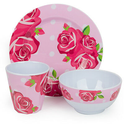 NEW Bobble Art Rose Melamine Mealtime Set 3pce