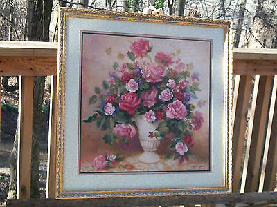 Large Home Interiors Gold Framed Floral Print Picture Signed DI Giacomo