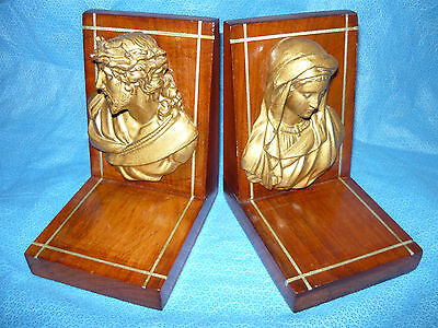 Antique Jesus & Mother Mary Religious wood & metal Book Ends