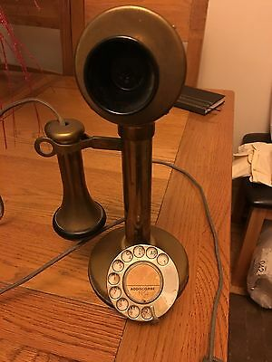 Antique Candle Stick Brass Telephone