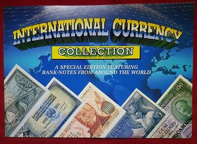 International Currency Collection Folder & 15 x Banknotes! Free Post Australia!
