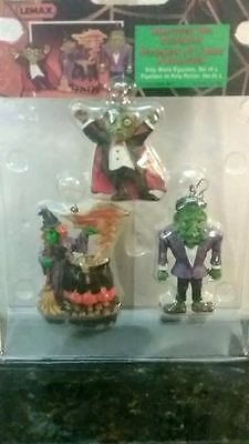 RARE Lemax Spooky Halloween Tree Decorations Dracula, Frankenstein, Witch #32759