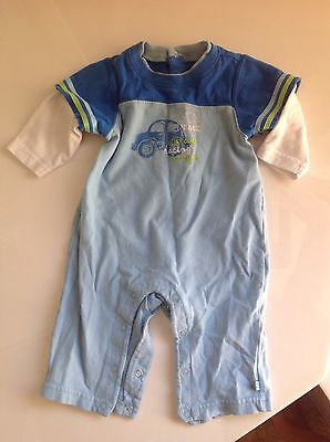 """Baby Boys' """"Place"""" long sleeve car theme 1 piece outfit Size 3-6 months"""