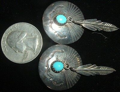 Vintage Sterling Silver & Turquoise, Classic, Feather Earrings!