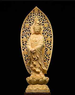 Exquisite Wood Carving Crafts,Hand-made Cute Home Decoration,GuanYin Statues