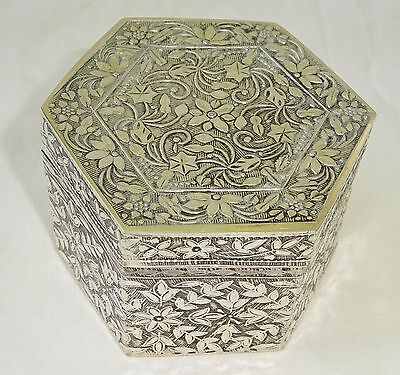 S.E. Asian Unmarked Octagonal Covered Silver Box w. Floral Motifs (001)