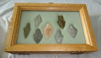 7x Native American Arrowheads in Steel's Display Case (Ver) Case #41