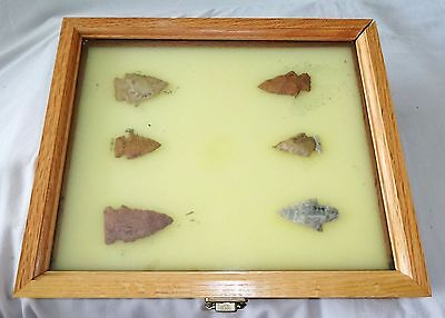 6x Native American Missouri Arrowheads in Steel's Display Case (Ver) Case #32