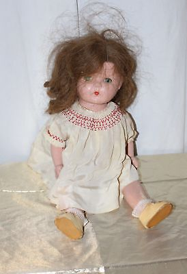 "Vintage American Character Petite Sally Doll 16"" Front Snap Oil Cloth Shoes"