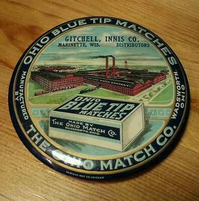 VTG Celluloid OHIO BLUE TIP MATCH CO. Paperweight Pocket Mirror Marinette, WI