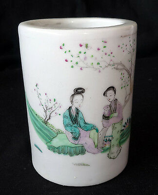 19CT Chinese Tongzhi Porcelain Brush-pot w. Famille Rose Meiren Motif (Kom)