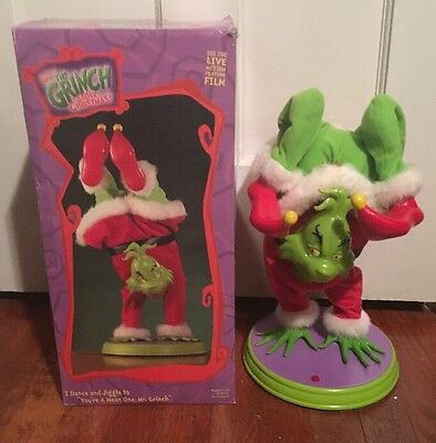 Gemmy Dr Seuss Hand Stand Dancing Grinch Singing Animated W/ Box