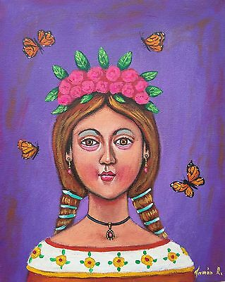 Whimsical Mexican Painting German Rubio Lady Girl with butterflies