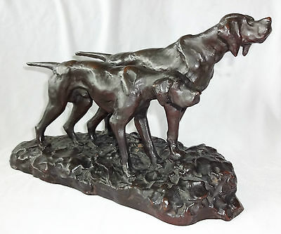 "1930s JAPANESE BRONZE SCULPTURE ""PAIR of HUNTING DOGS"" sign HIDEAKI (Ree)"