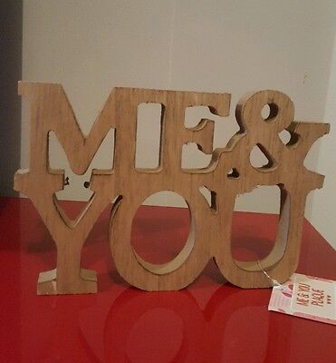 Love Valentines day gift wooden Me & You ornament Brand new. Home furnishings