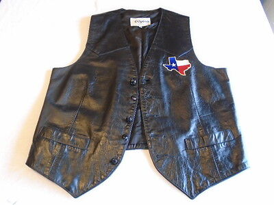 Vintage Mens Black Leather Motorcycle Vest Fort Worth Texas Size 42