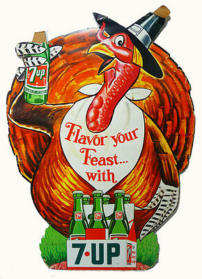 Vintage 7-UP SODA STORE DISPLAY SIGN (1960's) Thanksgiving ADVERTISING