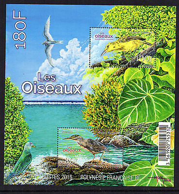 New Issue Fine  French Polynesia Birds Miniature Sheet Mnh 2016