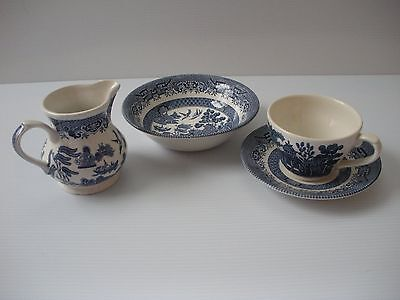Churchill England Willow Pattern Blue/White Cup, Saucer, Bowl & Milk Jug