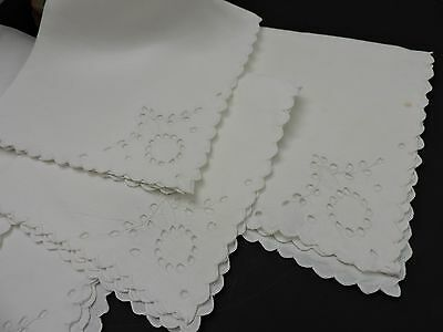 Vintage cocktail napkins with  white on white embroidery  set of 4
