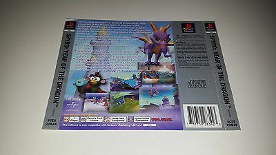 Spyro: Year of the Dragon Playstation 1 PS1 PAL Rear Box Art Insert Only