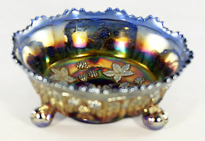 Carnival Fenton Blue Butterfly & Berry small 3-legged Bowl