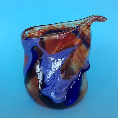 ART GLASS VASE JUG Red & Blue Hand-crafted Unique Colourful Decorative Display