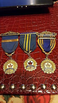3 CANADIAN LEGION MEDALS With Ribbon-PAST PRESIDENT,PAST OFFICER,SECRETARY,FOR .