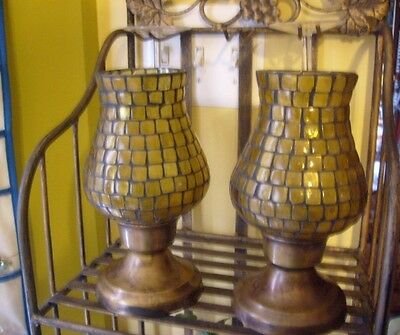 Foreside Amber Brown Mosaic Hurricane Brass Base Candle Holders x 2