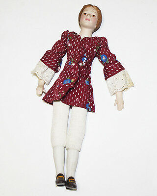 Vintage Bisque Doll Cloth Body Clothed
